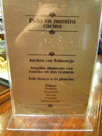 Bar Gaucho: menu del dia
