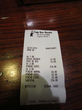 Bar Gaucho: la cuenta