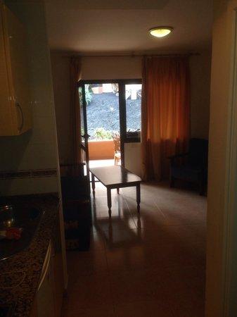 Oasis Duna Hotel: Wohnzimmer mit Couch und Kochnische