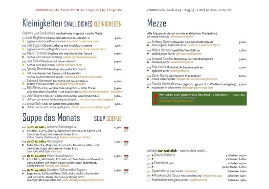 Garbo – Café und Kneipe im Cinema: Our menu in German, English and Dutch / Onze menu in Duits, Engels en Nederlands