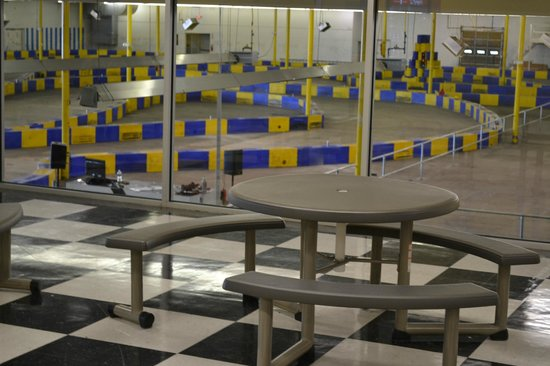 G-Force Karts : View of the track from our upstairs lounge/cafe