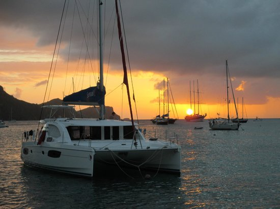 Oasis Marigot: Sunset from the Catamaran