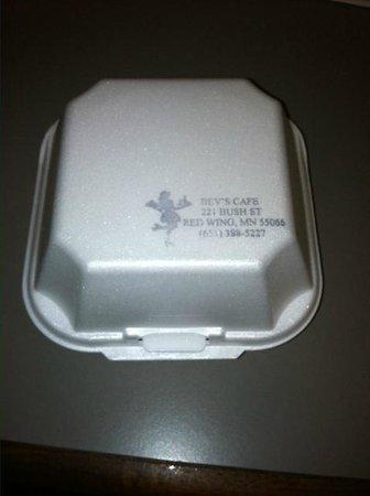 """Bev's Cafe : 25 cent """"to go"""" box"""