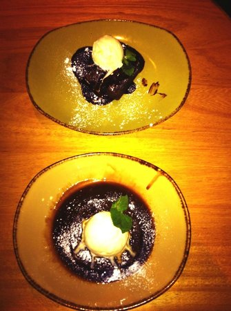 Olive Restaurant & Bar: Chocolate brownie (top) sticky toffee (bottom)