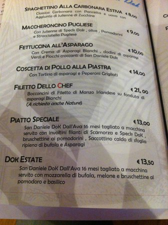 Paese Restaurant Dinner Menu