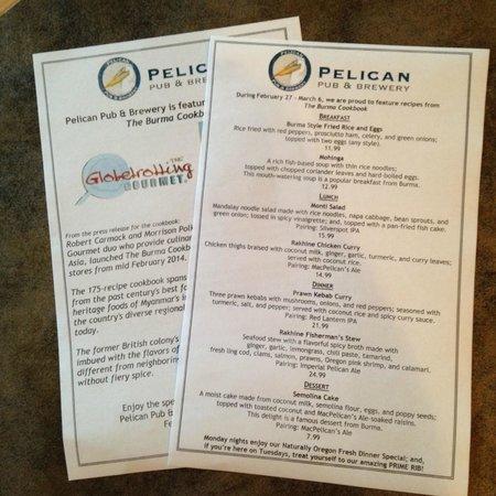 Pelican Pub & Brewery: Special Menus at Pelican