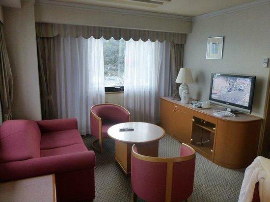 Hotel Resort Inn Futami : ソファとテレビがあるリビング