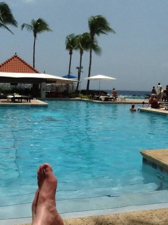 Curacao Marriott Beach Resort & Emerald Casino: a view from my chair at the pool
