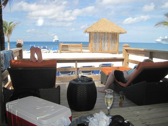 Coco Cay: View from cabana enjoying champagne!
