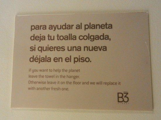 Hotel B3 Virrey: Programa de redução de água/energia