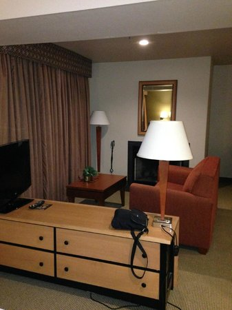 "Hawthorn Suites by Wyndham Kent/Sea-Tac Airport: living area including fireplace. Sliding door to small ""private courtyard"" behind the curtains"