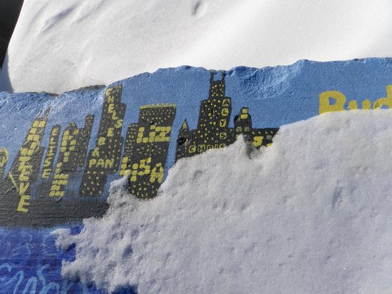 Northwestern University: Painting  of the Chicago skyline on the breakwater on campus