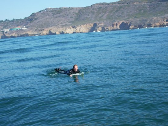 Reel to Reef Charters: Surfing from the Reel to Reef boat in San Diego