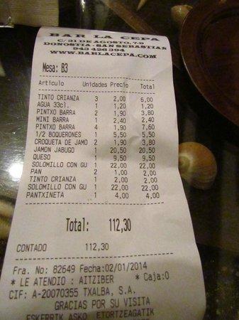 Bar La cepa : la cuenta