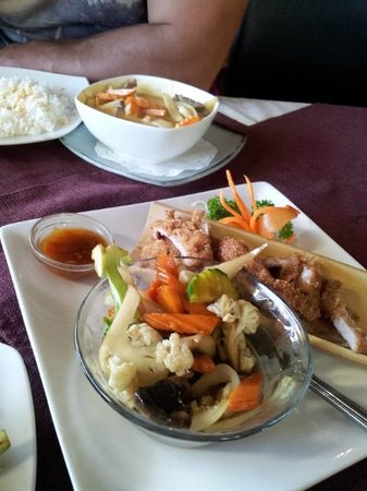 Herbs & Spice Thai Restaurant: Crispy pork withvegetables & rice and Masaman curry with rice
