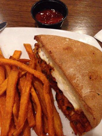 Laffa Medi-eastern : Panini, sweet potato fries and delicious pomegranate ketchup :)