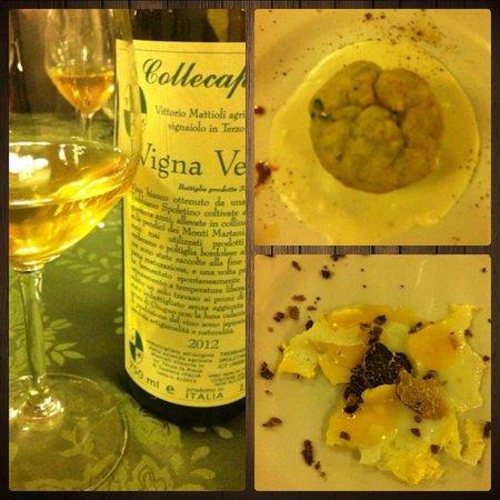 Da Gregorio: Trebbiano Spoletino con Tortino di Cavolfiore su fonduta di Fontina e Alici / Uova di Quaglia