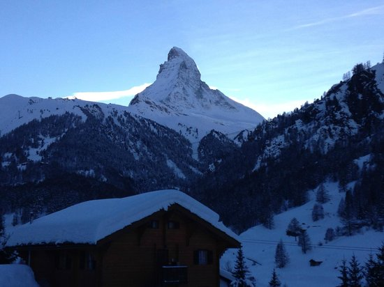 Bijou Hotel : The picture from the balcony looking out to the Matterhorn on the 1st floor room 201.