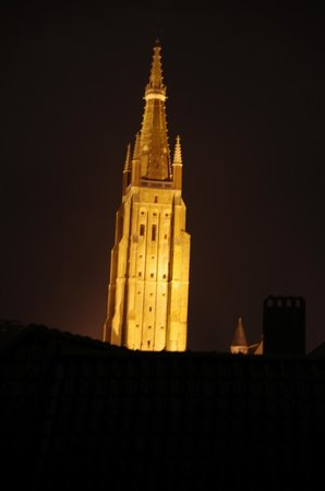 Hotel de Goezeput : Deluxe Room - view of Cathedral at night from skylight