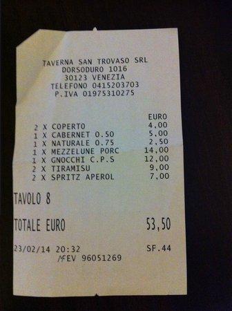 Taverna San Trovaso : Facture
