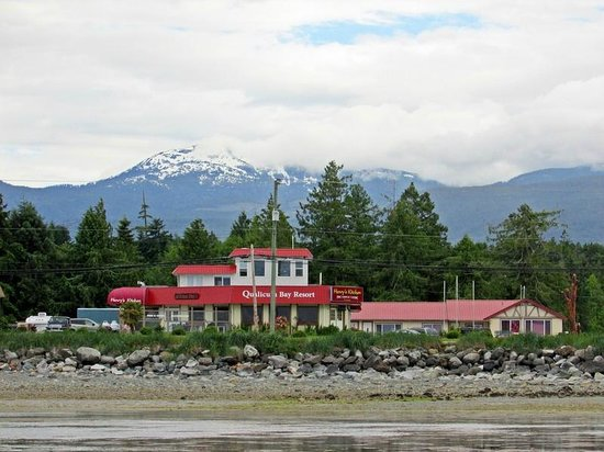 Qualicum Bay Resort: View from out on the beach with Mt. Arrowsmith in the background