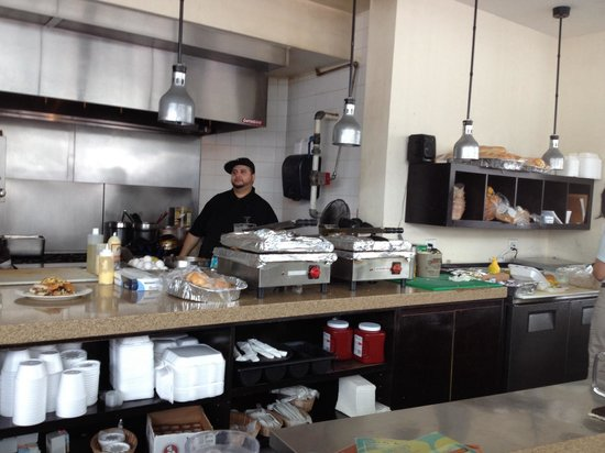 David's Cafe Cafecito: Behind the counter where Cuban sandwiches are made