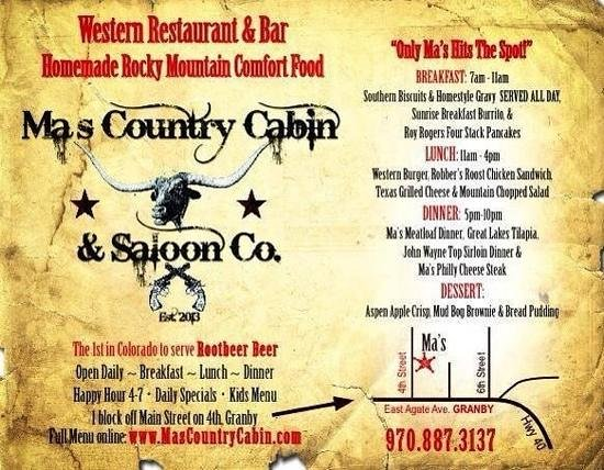 Ma's Country Cabin & Saloon : Check us out!