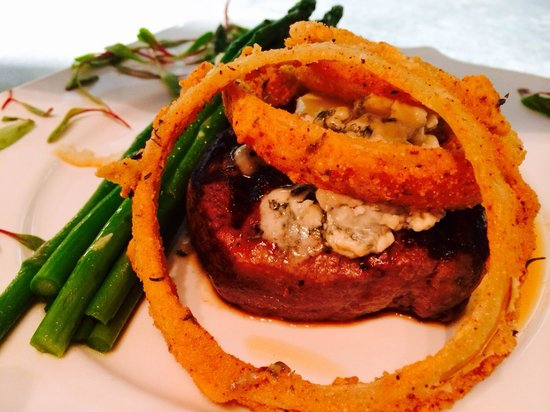 Blu' Island Bistro: Hand-cut Filet Mignon w/ thick-cut buttermilk battered onion rings