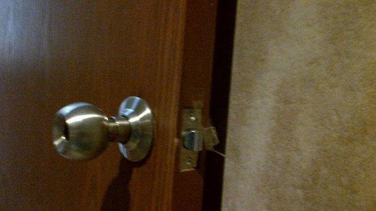 Argos: tape on bathroom door to keep it from locking