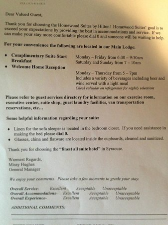 Homewood Suites Syracuse/Liverpool : Information in our room about hotel
