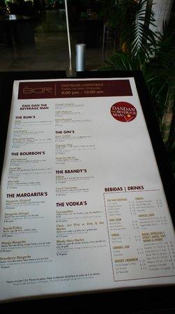 The Grand Mayan Acapulco: menu of bar