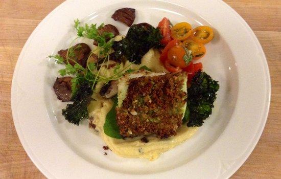 Savory Square Bistro: Pistachio pesto sea bass, tallegio polenta, fried kale chips