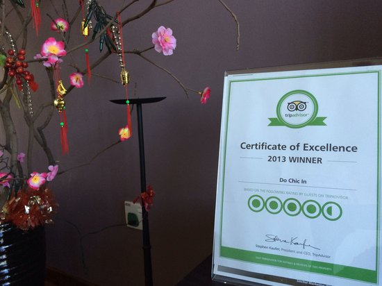 Do Chic In: 2013 Certificate Of Excellence