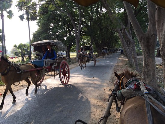 Tourists in Horse Carts on Innwa Island