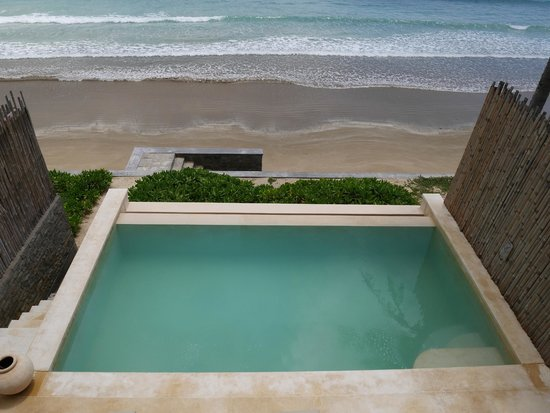 Six Senses Con Dao : View of private pool from bedroom balcony