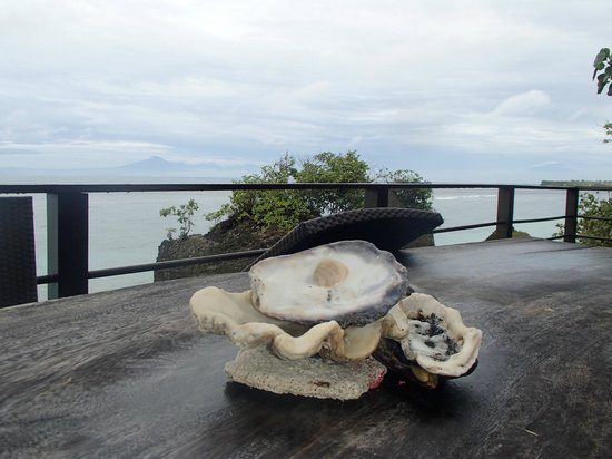 Le Sabot Bali / Beach Front Bungalows Padang Padang: View fm balcony The Studio, long wooden table