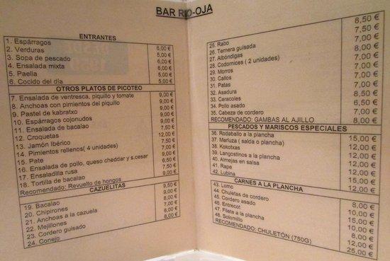 Rio Oja: el menu