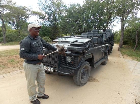 Lion Sands - Tinga Lodge: Keeping the dust down.