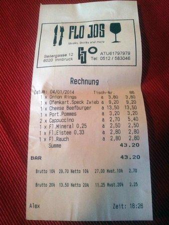 FloJos: Die Rechnung.