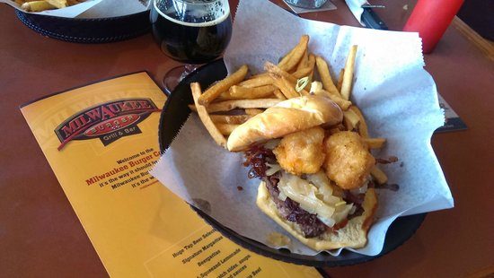 Milwaukee Burger Co. Bar and Grill : The Baconator, with cheese curds