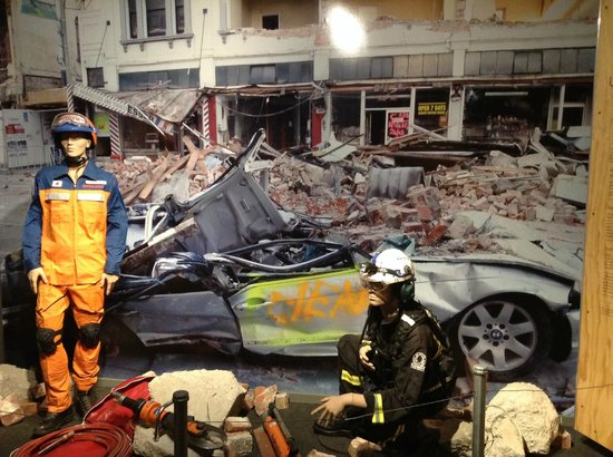 Quake City: Photograph of a photo showing the rescue attempts by emergency services