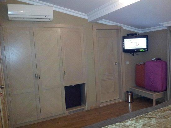 Seraglio Hotel and Suites: Armario con caja de seguridad y frigorífico