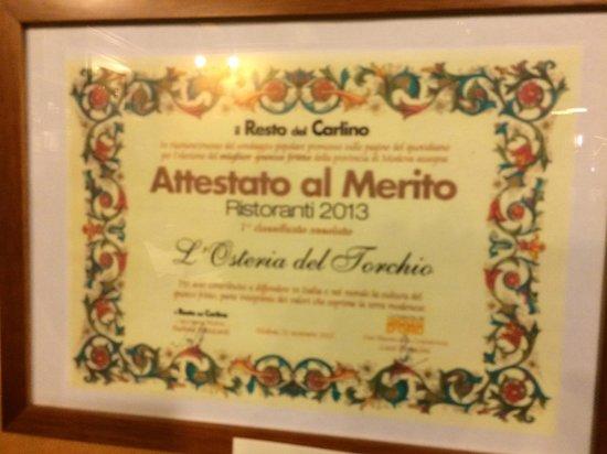 L'Osteria del Torchio : premio appena ricevuto dal ristorante