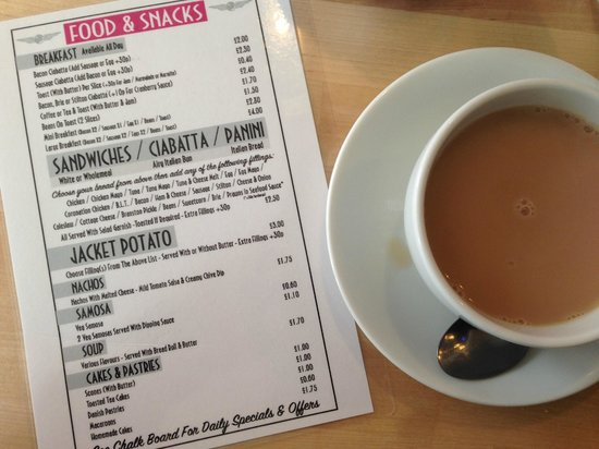 Tilt Coffee House: Food menu with English breakfast tea