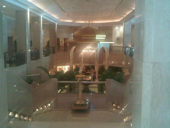The Leela Mumbai : The lobby with the waterfall and insence