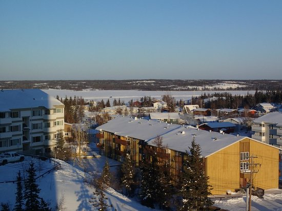 Coast Fraser Tower: View of Yellowknife and Dettah Ice road