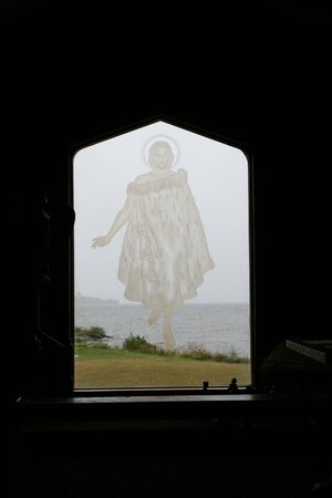 St. Faith's Anglican Church: The Christ-figure walks on the lake