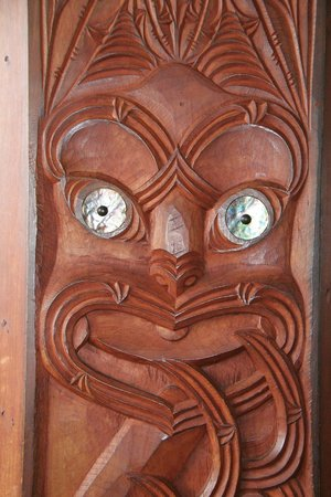 St. Faith's Anglican Church: Some of the intricate Maori carving.