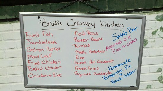 Barb S Country Kitchen Menu Board Outside The Restaurant
