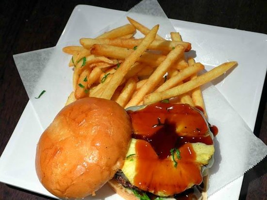 Rave Burger: Teriyaki pineapple burger
